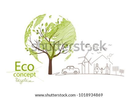 Green Globe On Tree Tree Globe Stock Vector Royalty Free