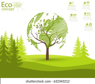 Green globe on the tree. Tree with globe on grass. Eco friendly. The concept of ecology. Ecologically clean world landscape. Illustration.