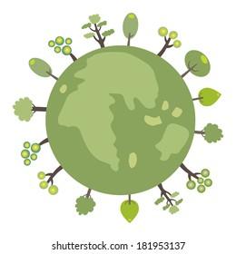 Green globe with tree