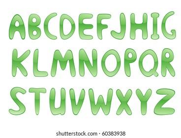 Green glossy alphabet. Vector illustration.