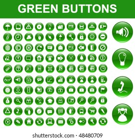 Green Glossy Buttons