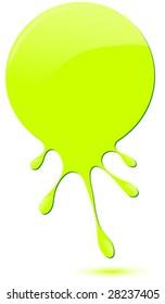 Green glossy drip vector.