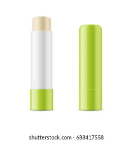 Green glossy lip balm stick. Realistic packaging mockup template. Front view. Vector illustration.