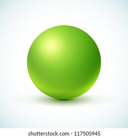 Green glossy sphere isolated on white. Vector illustration for your design.