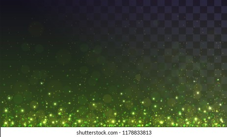 Green glowing dust from below, sparks on a transparent background, lights