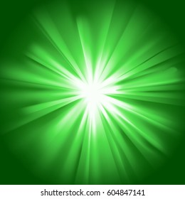 Green glowing light. Bright shining star. Bursting explosion. Transparent graphic design element. Colorful gradient ray. Glaring effect with transparency. Abstract glowing sparkle. Vector illustration