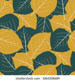 Green and gold aspen leaf seamless vector pattern background. Overlapping hand drawn leaves in fall colors. Textural abstract backdrop Botanical foliage all over print for autumn and cosy home concept