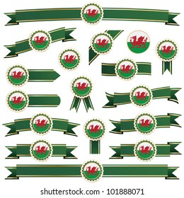 green and gold ribbons with wales emblems, isolated on white