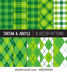 Green Golf Argyle, Tartan and Gingham Plaid Patterns. St Patrick's Day Backgrounds. Popular Sports Theme Prints for Charity Golf Events or Birthday Party Decor.  Vector Pattern Tile Swatches Included.