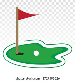 Green golf course with flag or flagstick and golf ball flat vector icon for sport apps and websites