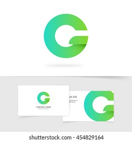 Green gradient letter g or q vector logo element design isolated on white background, abstract round logotype with leaf, concept of ecology or eco technology creative brand symbol