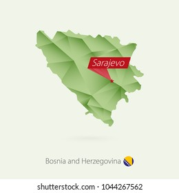 Green gradient low poly map of Bosnia and Herzegovina with capital Sarajevo