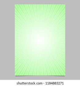 Green gradient ray burst page template - vector brochure background graphic design with striped rays