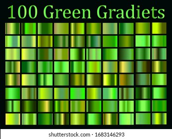 Green gradients big set, nature, biology simple cover design
