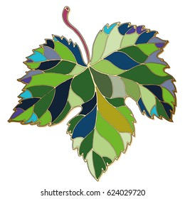 Green grape leaf. Mosaic, stained glass, jewelry, enamel art. Illustration for label, card, menu, decoration, covers.