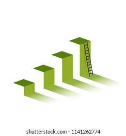 green graph with ladder to mountain peak. business graph concept. illustration design graphic over white background