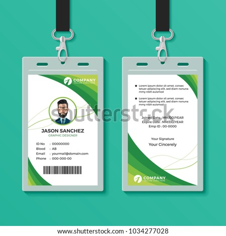 green graphic id card design template のベクター画像素材