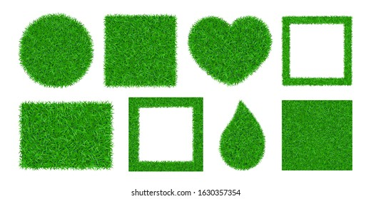 Green grass background 3D set isolated. Lawn greenery nature ball, circle, heart. Abstract field texture square frame, rectangle. Ground landscape grassland pattern. Grassy meadow Vector illustration