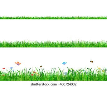 Green grass banner collection with flowers, butterflies and bees.