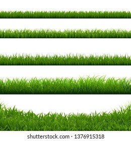 Green Grass Big Borders Collection, Vector Illustration