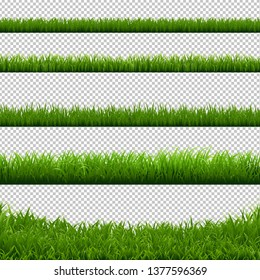 Green Grass Big Borders Collection Transparent Background, Vector Illustration