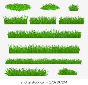 Green grass blades borders and landscaping constructor plants, vector isolated realistic icons. Meadow lawn, park or farm green grass hedges