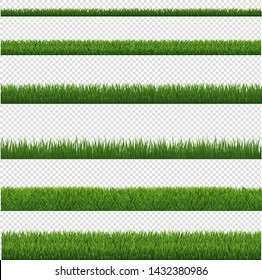 Green Grass Border And Transparent Background, Vector Illustration