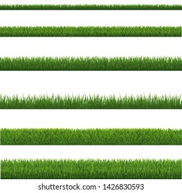 Green Grass Border And White Background, Vector Illustration