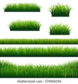Green Grass Borders Big Collection, Vector Illustration