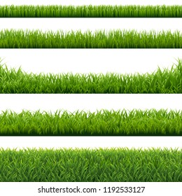 Green Grass Borders Set Background, Vector Illustration