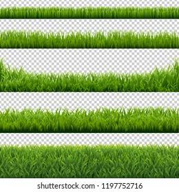 Green Grass Borders Set Background, Vector Illustration