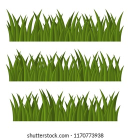 Green Grass Borders Set on White Background. Vector
