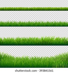 Green Grass Borders Set, Vector Illustration