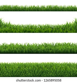 Green Grass Borders Set White Background With Gradient Mesh, Vector Illustration