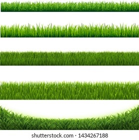 Green Grass Collection Border Isolated White Background With Gradient Mesh, Vector Illustration