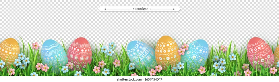 Green grass Easter eggs flowers seamless border. Decoration element of Easter design isolated on transparent background. Flat vector illustration of meadow grass and eggs