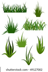Green grass elements for design and decorate. Jpeg version is also available