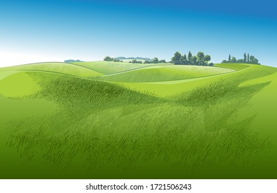 Green grass field on small hills with  blue sky. Meadow, alkali, lye, grassland, pommel, lea, pasturage, farm. Rural scenery landscape panorama of countryside pastures. Vector watercolor realistic