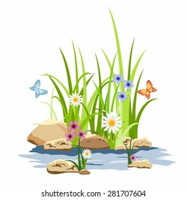 Green grass and flowers in the rocks