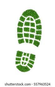 Green grass footprint boot, vector illustration.