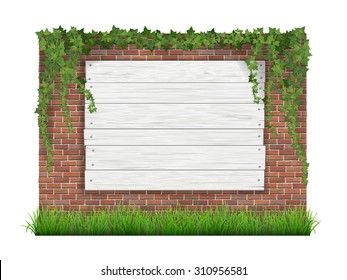 Green grass, ivy and white wooden sign hanging on a brick wall background. Realistic vector illustration.