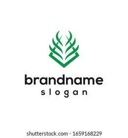green grass logo design vector