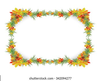 green grass and maple leaf frame and border