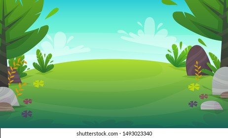green grass meadow at park or forest trees and bushes flowers scenery background , nature lawn ecology peace vector illustration of forest nature happy funny cartoon style landscape