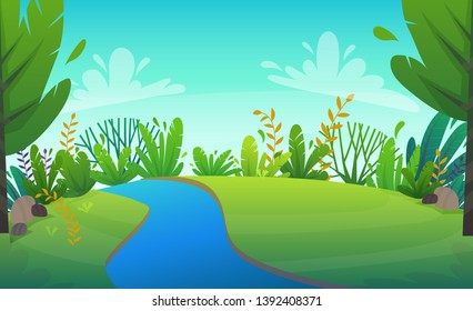 green grass meadow with river at park or forest trees and bushes flowers scenery background , nature lawn ecology peace vector illustration of forest nature happy funny cartoon style landscape