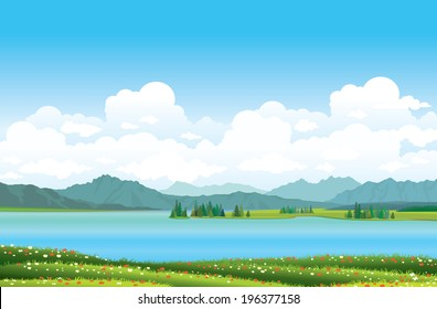 Green grass with red flowers and blue lake on a mountains background. Nature vector landscape.