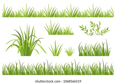 Green grass seamless pattern. Set of vector illustrations with grass border and icons in flat style isolated on white background.