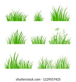 Green Grass Set. Silhouette of Plants. Cartoon Style Vector Illustration
