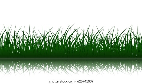 Green grass silhouettes with reflection on white background, seamless vector illustration.