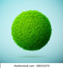 Green grass sphere on a blue clear background eps10 vector illustration